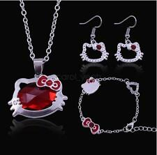 Hello Kitty Girl Cute Cat Sweet New Necklace+Bracelet+Earrings Three-piece Set