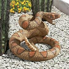 Realistic Coiled Venomous Snake Rattle Tail Sculpture Garden Statue NEW