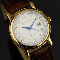 PACIFISTOR Men's Date Quartz Wrist Watch Luxury Vintage Gold Style Brown Leather