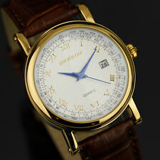 PACIFISTOR Men's Date Quartz Wrist Watch Luxury Vintage Gold Style Brown Leather