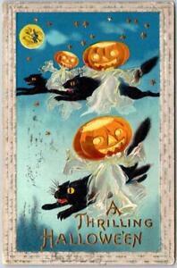 Vintage HALLOWEEN Postcard JoL Head Ghosts on Flying Black Cats BS / 1912 Cancel