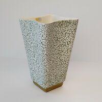 SHAWNEE POTTERY Vintage Mid Century Modern Green Splatter Vase Gold Base MCM