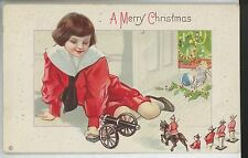 VINTAGE CHRISTMAS POSTCARD-- CHILD PLAYING WITH TOY SOLDIERS!!!