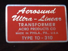 Acrosound TO-310 output transformer logo badge aluminum metal