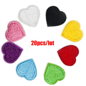 20X Colorful Love Heart Patches Iron Sew On Clothes Bag Embroidered Badge Patch