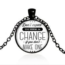 Make a Change Black Dome glass Photo Art Chain Pendant Necklace