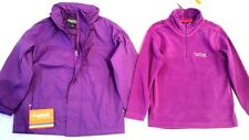 New Girls Regatta Pack Of 2 : Waterproof Jacket & Fleece Top Dewberry 5-6 Years