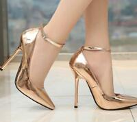 14CM Womens Ankle Buckle Pointy Toe Sexy High Heel Stiletto Pumps Shoes Sz Zsell