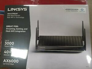 Linksys - Max Stream AX6000 Dual-Band Mesh Wi-Fi Router - Black sealed