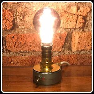 Desk Lamp Light Industrial Vintage Retro  Galvanised & Brass White Standard Flex