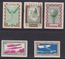 1932 Latvia, Latvija, Pro Aviation Series Di 5 Values, Mail Aerea - Air Ma
