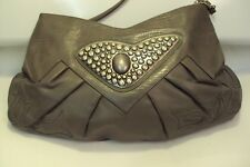Grey Leather Shoulder or Clutch Handbag Purse with Nail Heads Closure by Sylvia