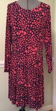 Size XL JUICY COUTURE DRESS Navy Coral Hearts Stretchy Fit-N-Flare Faux Zippers