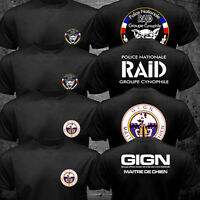 New France Special Elite Police Forces Unit GIGN Raid k-9 Canine Dog T shirt