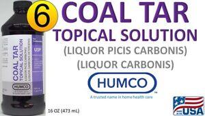 6 Humco Coal Tar TOPICAL SOLUTION 20% PHARMA COMPOUNDING AGENT 16 oz 10/21 6 PK