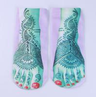 New Casual Ankle Socks 1Pair Fashion Blue tattoo foott print Polycotton 198