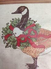 """Janlynn Counted Cross Stitch Kit Christmas Goose Canada Wreath Red Ribbon 12x9"""""""