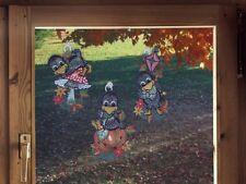 Fensterbilder 3er Set  für den Herbst LUSTIGE RABEN inkl. Saughaken