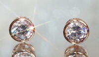 4Ct Round Cut Moissanite Push Back Solitaire Stud Earrings 14K Rose Gold Finish