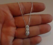 THREE DROP PENDANT NECKLACE W/ 1 CT LAB DIAMONDS / 925 STERLING SILVER / 18''