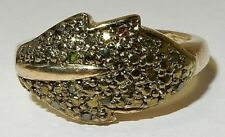 GREEN DIAMOND RING IN YELLOW GOLD OVERLAY 925 STERLING SILVER  SZ 6
