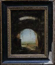 Hubert Robert 1733-1808 CERCHIO PAESAGGIO ITALIANO OLD MASTER dipinto ad olio arte