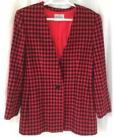 Miss Pendleton Womens Sz 6 Red Black Christmas Buffalo Check Wool Jacket Lined