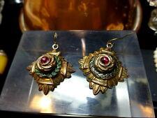 Antique Etruscan Revival Gilded Copper & Enamel Earrings