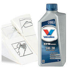Engine Oil Top Up 1 LITRE Valvoline SynPower FE 5w-30 1L +Gloves,Wipes,Funnel