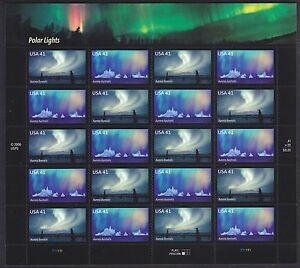 POLAR LIGHTS AURORA BOREALIS + AUSTRALIS 4203-4204 US 20 VF 41c STAMP SHEET 2007