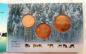 SUOMI / FINLANDE :  PIECES de 1, 2 et 5 CENTIMES d' EURO 2007 sous BLISTER