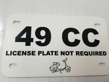 SCOOTER 49CC LICENSE PLATE  white with black print