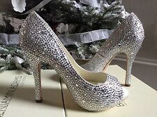 £380 BENJAMIN ADAMS SILVER OCASION BRIDAL CRYSTAL  SHOES SZ 37
