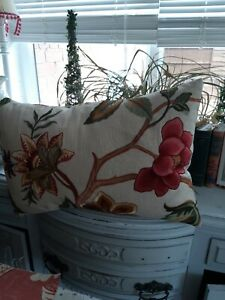 Embroidered Large linen cushion