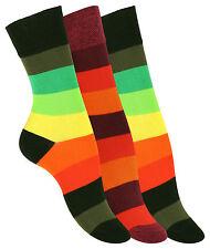 3, 6 oder 9 Paar Damen Socken, mit knallig bunten Blockstreifen, Strümpfe