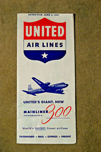 United Airlines System Timetable - June 1, 1947