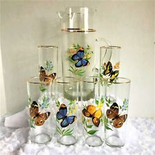 7-PCE. VINTAGE WEST VIRGINIA GLASS CO. BUTTERFLY BEVERAGE PITCHER 6 GLASSES SET