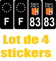 4 Autocollants 2 paires Stickers style Auto Plaque Black Edition noir F+ 83