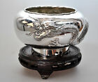 357g ANTIQUE CHINESE EXPORT SOLID SILVER LUEN WO SHANGHAI DRAGON BOWL CHINA 1900