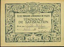 TEMOIGNAGE DE SATISFACTION ECOLE PRIMAIRE DE FILLES 1932