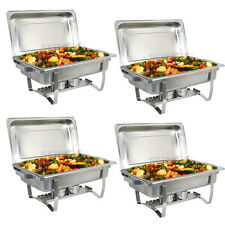 4 PACK CATERING STAINLESS STEEL CHAFER CHAFING DISH SETS 8 QT FULL SIZE BUFFET