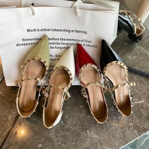 Rock Stud Studded Flats Rivet Strappy Pointed Toe Cut Out Plus Green Women Shoes