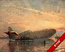 ZEPPLIN IN THE THAMES RIVER WWI WORLD WAR 1 ART PAINTING REAL CANVAS PRINT
