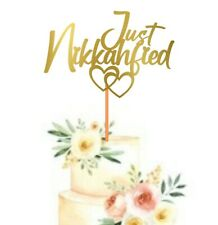 Just Nikkahfied | Wedding Nikkah Ceremony Cake Topper Party Decoration | Gold