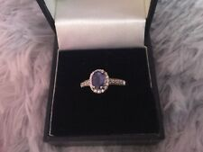 Beautiful 18carat solid white gold AA tanzanite ring with diamonds used size M