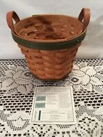 """Longaberger Golf Club Basket 2000 Signed with COA Leather Handles 6.5"""" across"""