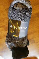 Gold Toe® Men's Black/Stripe Cushion Cotton Qrt Socks, 6 Pair, sock size 10/13
