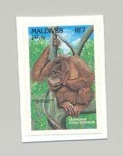 Maldives #1862 Orangutan, Monkeys 1v Imperf Proof on Card