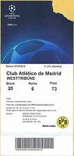 Sammler Ticket Block 20 UEFA Borussia Dortmund - Atletico Madrid UCL 2018/19