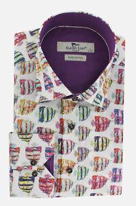 Men's Printed Shirt Slim Long Sleeve Cotton Size L Claudio Lugli Tropical Fish